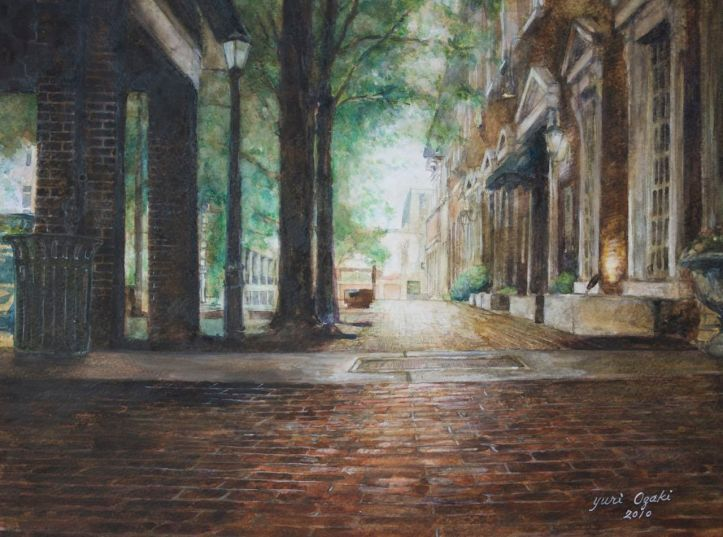 Painting of the view down the sidewalk of North Side Square in Huntsville, Alabama, looking west past the entrance to the Jazz Factory.