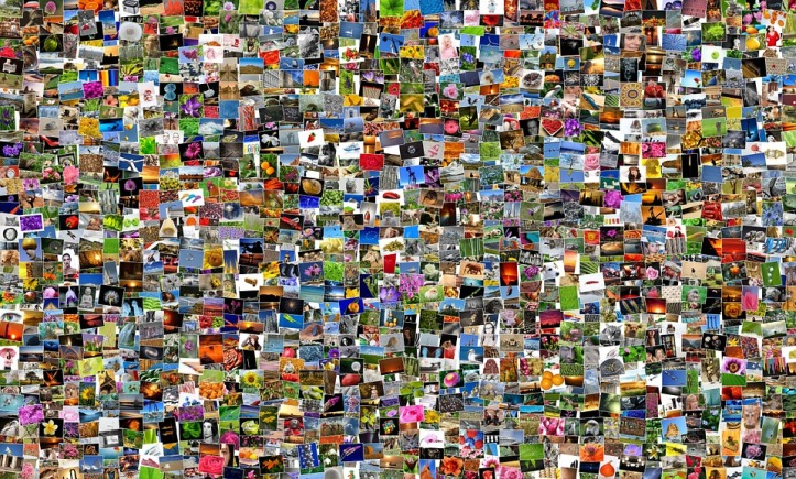 Mosaic of hundreds of photo album pictures