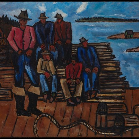 Painting of lobster fishermen on the dock, by Marsden Hartley in 1940-1941.